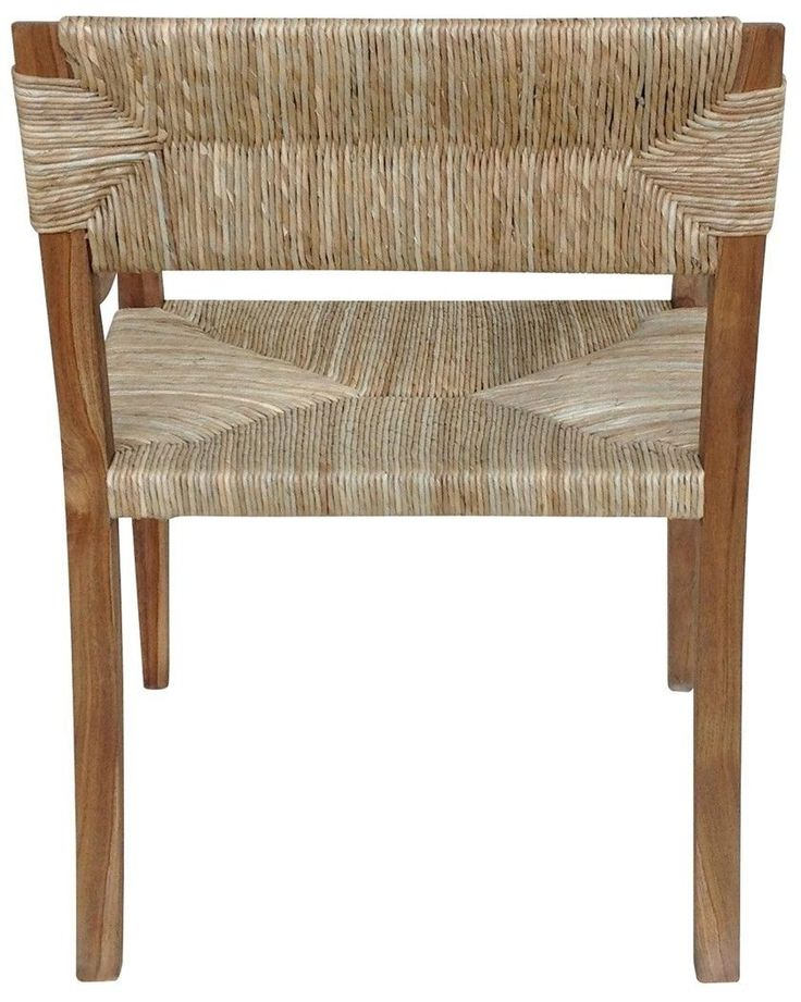 """Set of Two 38"""" H Arm Chair Teak Sea Grass Seat Back Rustic Light Brown Rugged GM   eBay"""