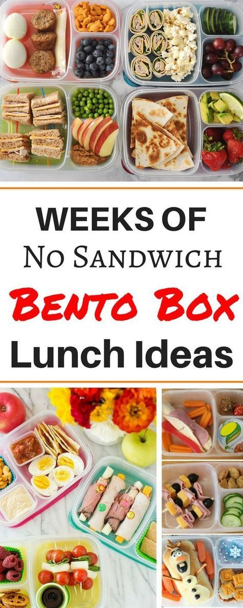 Months worth of healthy make ahead school lunch ideas for kids, for teens, and for adults! These easy no sandwich bento box recipes are perfect for picky eaters. There are so many ideas for cold lunches even including vegetarian and gluten free ideas for preschoolers and even for teenagers! #easylunchboxes #lunchboxideas