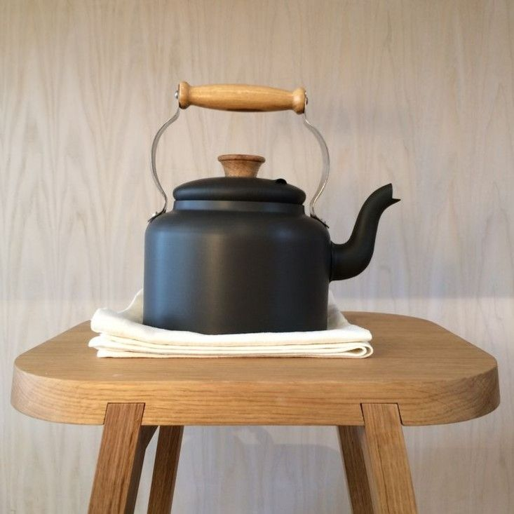 Hand-spun anodized aluminum Traditional Kettle with British oak handle from the Netherton Foundry in the Shropshire countryside