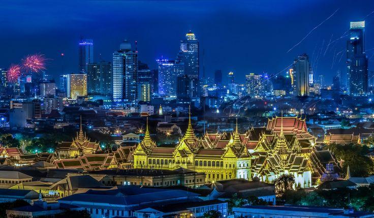 Таиланд Небоскребы Бангкок Мегаполис Ночь Города