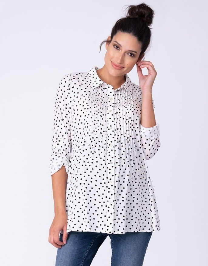 Casual Polka Dot Button Down Maternity Blouse For Pregnant Women Maternity Work Clothes Maternity Blouse Maternity Clothes