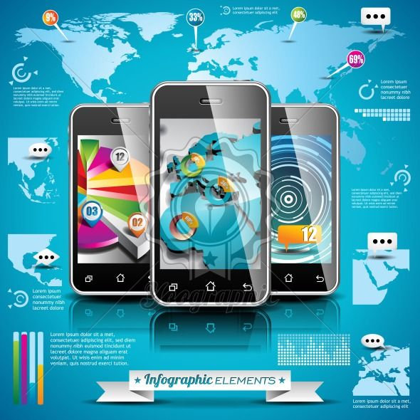 Vector design set of infographic elements. World map and information graphics on mobile phone. EPS 10 illustration - Royalty Free Vector Illustration