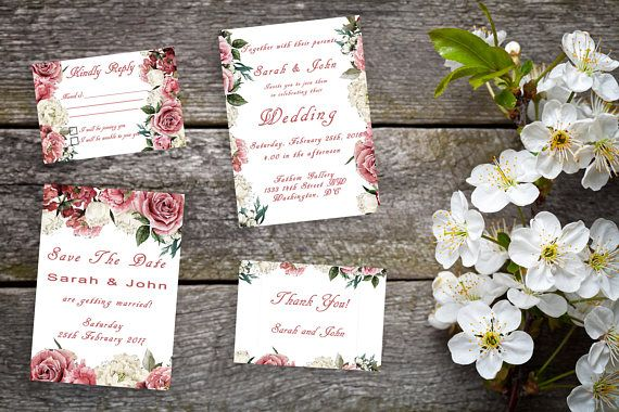 Vintage Rose Wedding Printable Suite, RSVP, Thank You, Wedding Invite, Pink and White