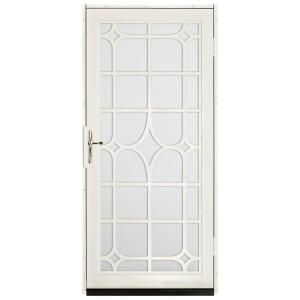 36 in. x 80 in. Lexington Almond Surface Mount Steel Security Door with White Perforated Screen and Brass Hardware