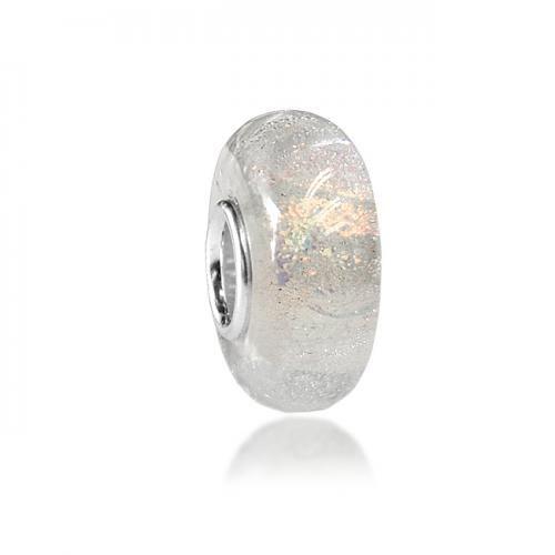 White Murano Glass Pink Rainbow Glitter Bead Pandora Compatible