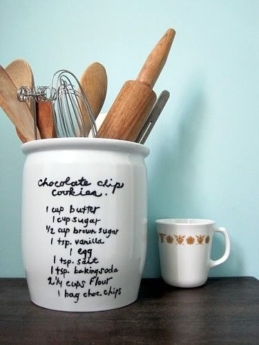 Put recipes on jars with sharpie or dry erase marker.