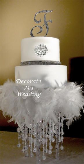 Crystal Wedding Cake Stand for the Bride & Groom - Feather Decoration