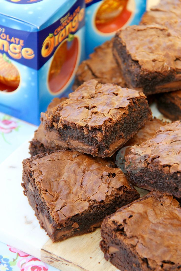 Moist, Chocolatey and Delicious Brownies with a hint of Orange, dotted with Terry's Chocolate Orange Chunks! It's not secret that I adore Chocolate Orange – I already have oodles of other Chocolate orange recipes on my blog, so I think that says it all really… One of my first recipes to get seriously popular was myChocolate Orange Cookies, which are amazing by the way, like I have no joke made them over 50 times. My favourite Terry's Chocolate Orange recipe however is myNo-Bake Chocolate…