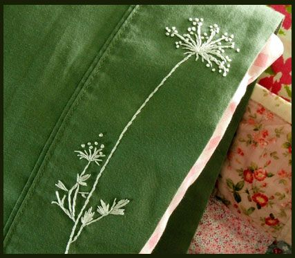 pretty idea-- embroider Queen Anne's lace onto something