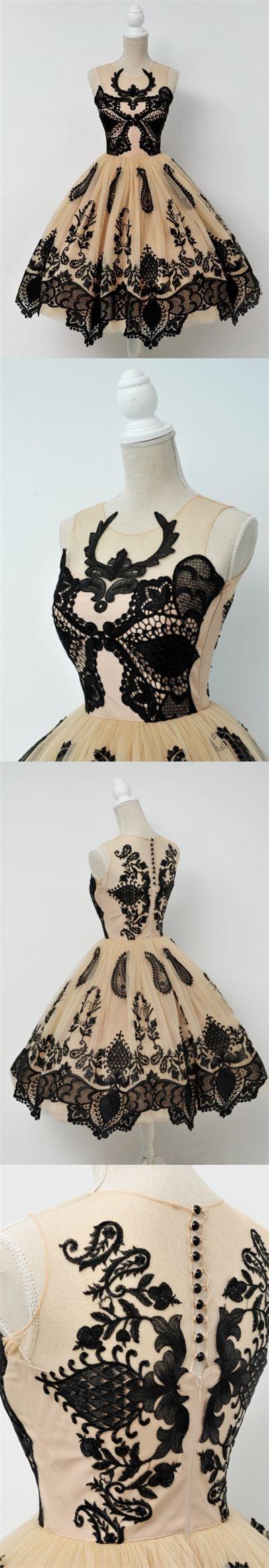 Vintage Homecoming Dress Black Appliques Tulle Short Prom Dress Party Dress JK300