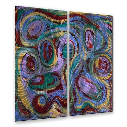 'Abstract 43' by Patrick Murphy 2 Piece Painting Print Plaque Set