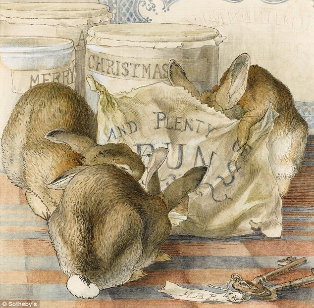 Festive greeting: A selection of her other works will also go on sale including drawings for Pigling Bland, and a Christmas card dating from about 1893 of Three Rabbits Eating Plenty of Buns with 'Merry Christmas' written on the side of jam jars
