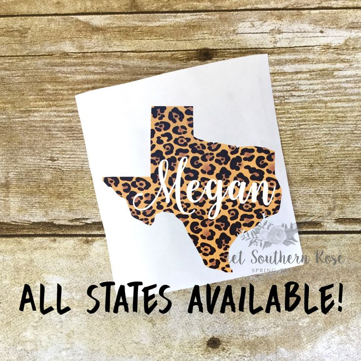 State Name Cheetah Leopard Decal, State Decal, Texas Decal, Laptop Decal, Yeti Decal, Car Decal, Macbook Decal, Tumbler Decal, Vinyl Decal by SweetSouthernRoseTX on Etsy https://www.etsy.com/listing/399476137/state-name-cheetah-leopard-decal-state