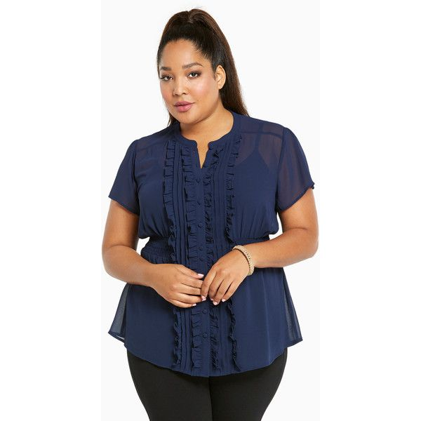 Torrid Ruffled Chiffon Blouse ($39) ❤ liked on Polyvore featuring tops, blouses, peacoat, plus size tops, sheer chiffon blouse, see through blouse, plus size sheer blouse and blue chiffon blouse