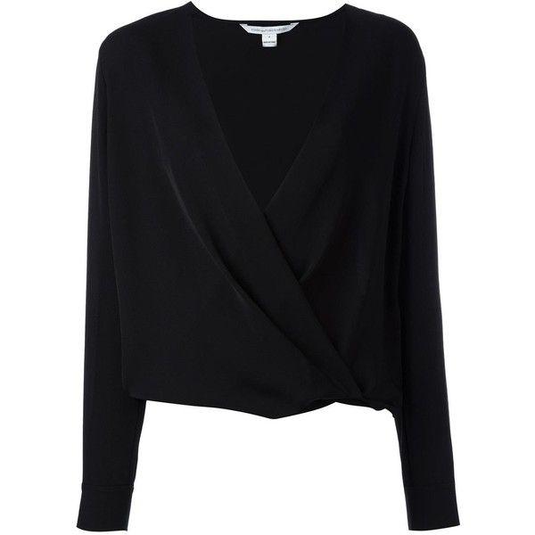 Diane Von Furstenberg V-neck wrap blouse ($340) ❤ liked on Polyvore featuring tops, blouses, black, silk top, v neck blouse, silk wrap top, wrap style top and v-neck tops