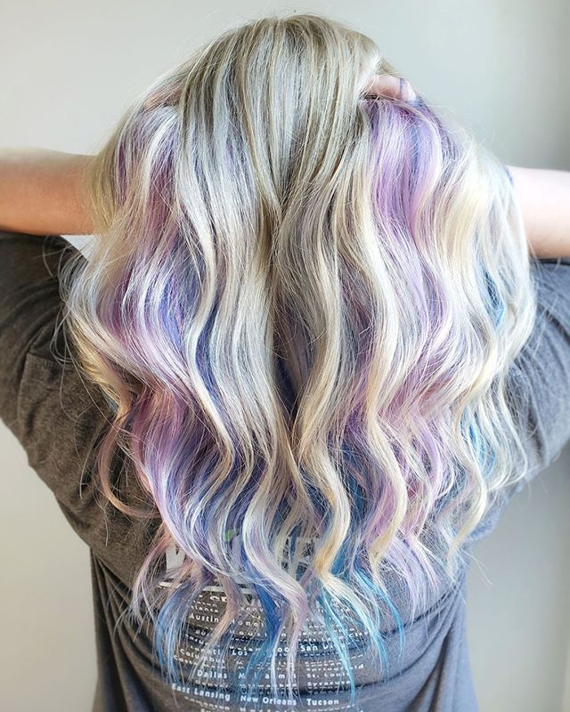 We Added Pastel Colors Underneath Her Blonde For A Subtle Yet Vibrant Look For The Summer A Lot Of People Hair Color Underneath Mermaid Hair Color Scene Hair