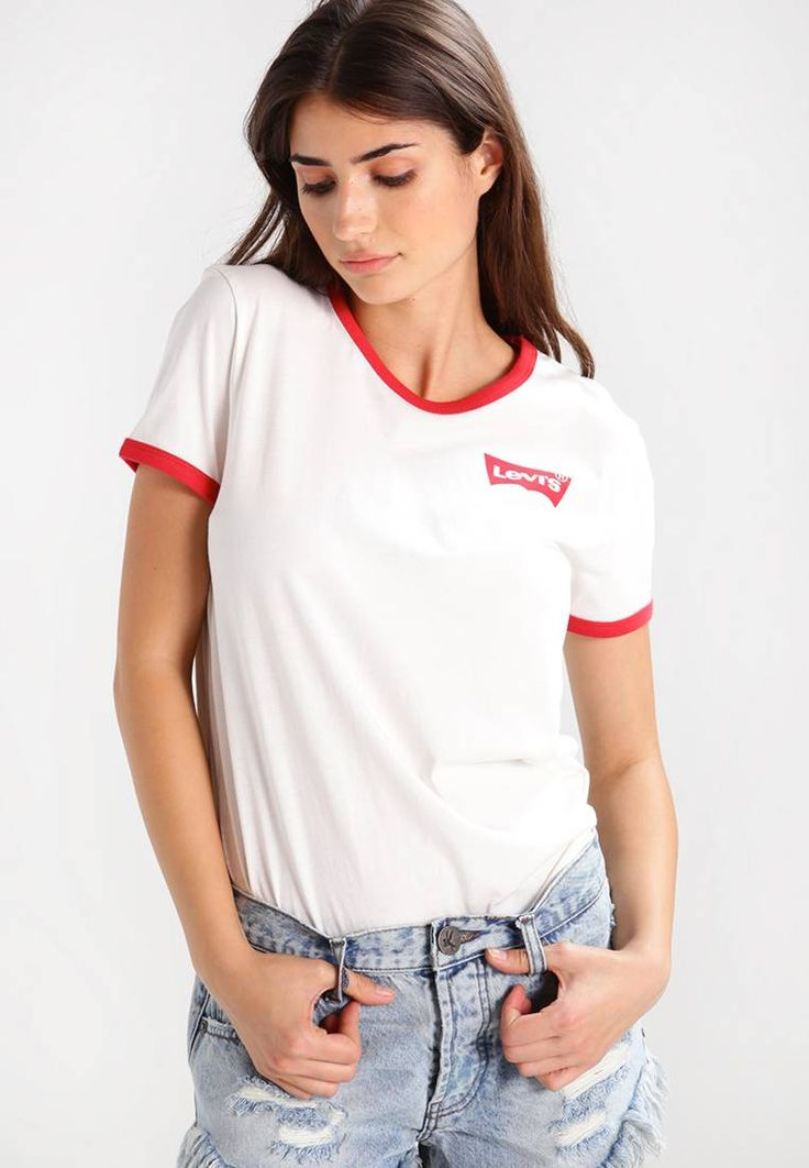 """Levi's®. PERFECT RINGER - Print T-shirt - white/red. Fit:regular. Outer fabric material:100% cotton. Our model's height:Our model is 69.5 """" tall and is wearing size S. Pattern:Print. Neckline:round neck. Length:normal. Sleeve length:short. Fabric:Jer..."""