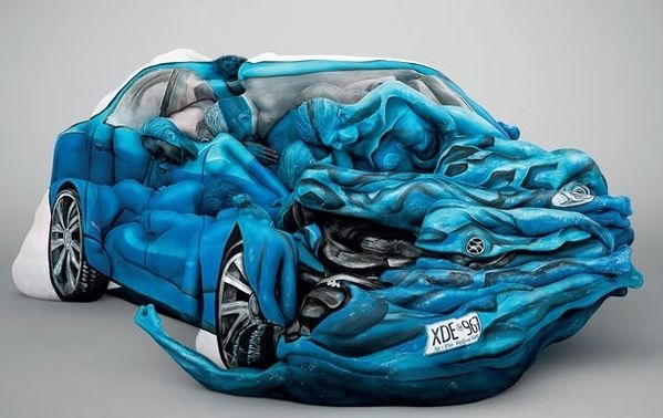 Artist Trina Merry Blue Car People Bodybuilder