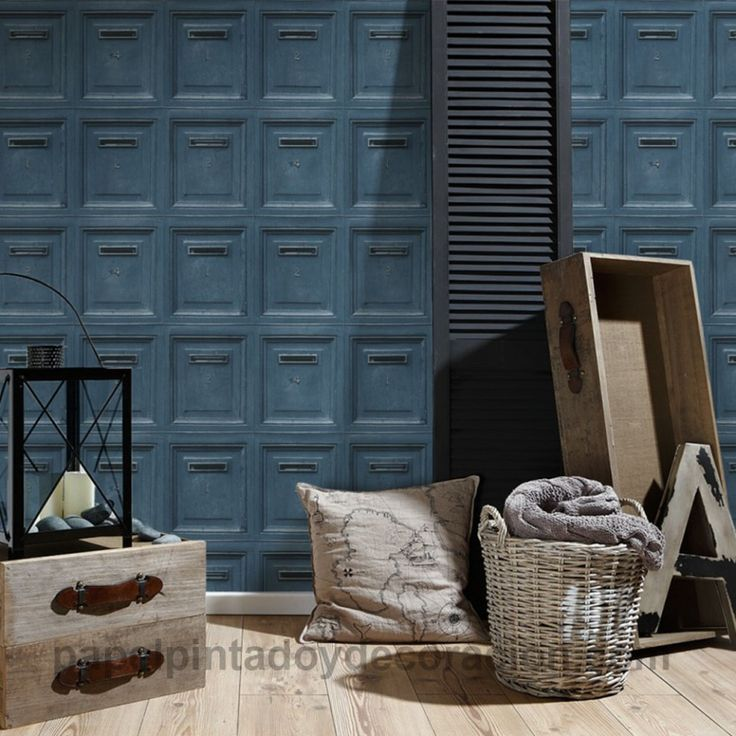 Papel pintado vinílico buzones de madera azul PDA8307454