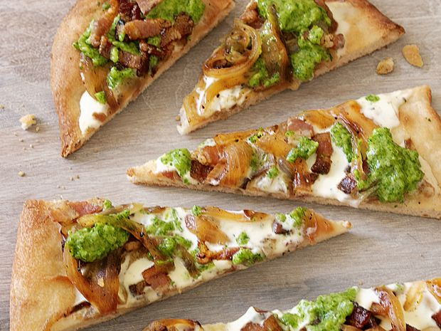 Flatbread With Bacon and Scallion Pesto from FoodNetwork.com