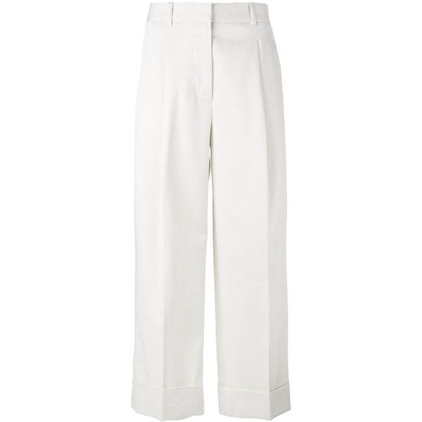 3.1 Phillip Lim cropped straight trousers (€245) ❤ liked on Polyvore featuring pants, capris, white, 3.1 phillip lim, white pants, white cropped trousers, creased pants and white crop pants