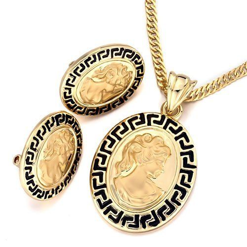 Pugster Gold Oval Black Great Wall Pattern Cameo Beauty Pendant Earrings Set Pugster. $26.99. Free Chain in a matching metal will be included. Designed from Swarovski Element Cystal. Money-back Satisfaction Guarantee. Free Jewerly Box. Perfect gift for Christmas