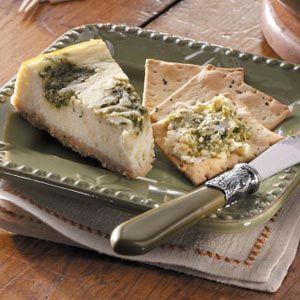 Pesto Swirled Cheesecake : Savory for Crackers!