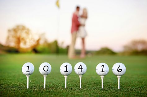Golf Save the Date! wedding date on golf balls. Golf wedding ideas. Golf theme wedding. #TracyShoopmanPhotography