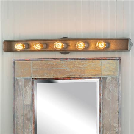 light - $139  Galvanized Rustic Vanity Light  if use this mirror should be sq/rectangular