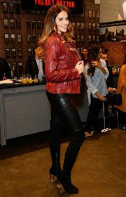 Hana Nitsche wears leather pants & jacket at the Freaky Nation 'Hana Nitsche NYC' campaign presentation at Panorama Tradeshow in Berlin, Germany - January 18, 2017