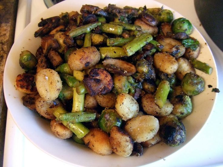 Crispy Gnocchi with Mushrooms, Asparagus, and Brussels Sprouts