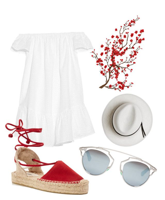 """When in Greece"" by canara-imin on Polyvore featuring Elizabeth and James, Christian Dior, Soludos, Brewster Home Fashions and Calypso Private Label"