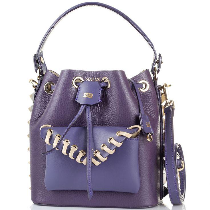 Сумка-мешочек с внешним карманом Salar Tala фиолетового цвета с металлическими шипами по бокам