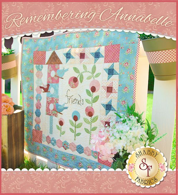 Remembering Annabelle Quilt - Laser-Cut Kit: Create a pretty little keepsake quilt for a special friend while enjoying a variety of quilting techniques with this Remembering Annabelle Quilt Kit! This amazing quilt by Bloom Creek Designs finishes to approximately 27