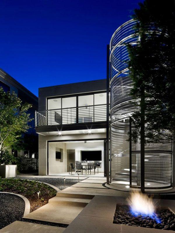 Luxury-Texas-Home-Metallic-Stairway: Design Ideas, Architecture Concept, Abbott Modern, Bernbaum Magadini, Entrance Design, Texas Home, Design Concept, Magadini Architects, Home Architecture