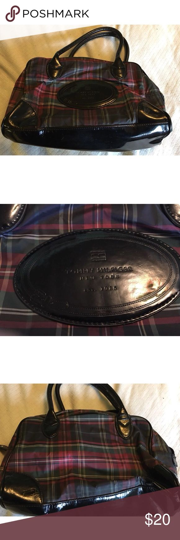Tommy Hilfiger Plaid Vinyl Handbag Tommy Hilfiger NY plaid handbag. Pretty sure its vinyl. This bag was a free promotional item in Tommy outlet stores several years back. Being vinyl it does have some surface scuffs. Tommy Hilfiger Bags Totes