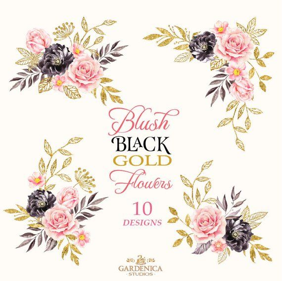 Black And Gold Watercolor Flowers Clipart Blush Pink Black Etsy Digital Flowers Gold Watercolor Watercolor Flowers