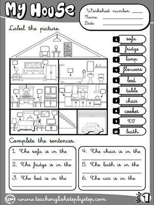 My house - Worksheet 6 (B&W version)