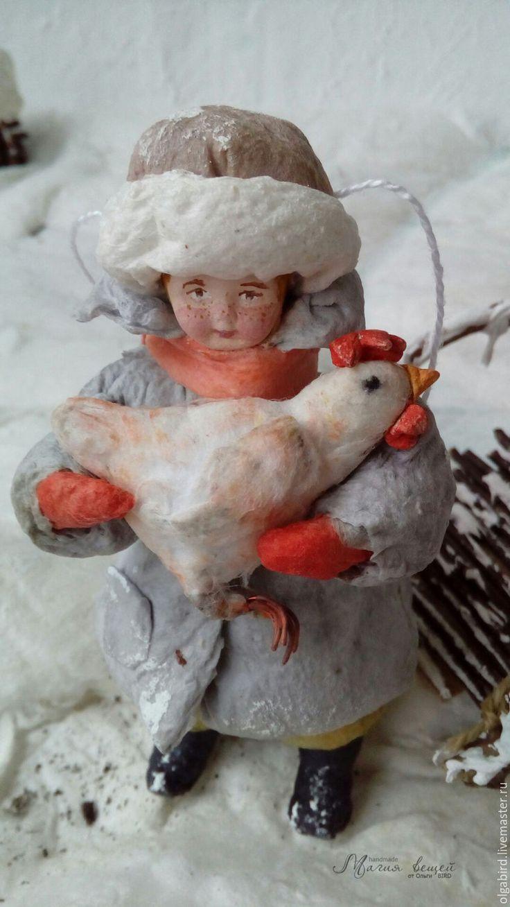 Купить резерв Ватная елочная игрушка ВАНЬКА С КУРОЧКОЙ - ватная игрушка