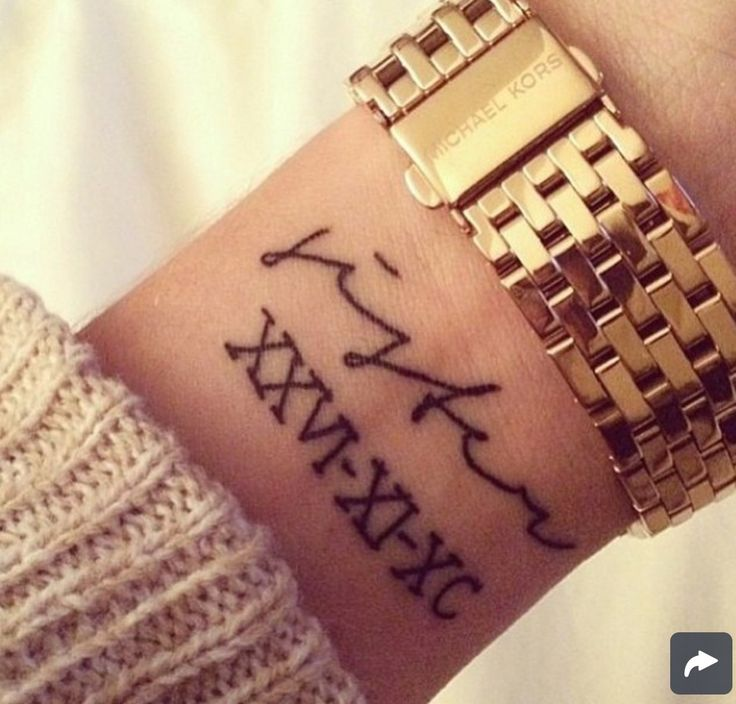 I would put the words I Do and the Roman numerals of my wedding anniversary like this