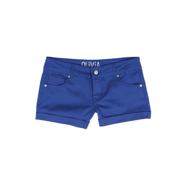Olivia Color Sateen Short Surf The Web ($26) ❤ liked on Polyvore featuring shorts, bottoms, pants, blue, view all shorts, cuffed shorts, short shorts, blue short shorts, blue shorts and stretchy shorts