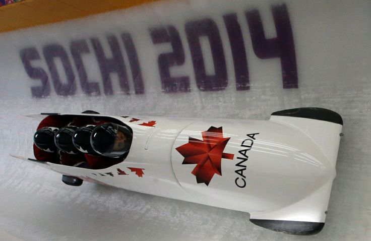 In Photos: Golden day on the ice for team Canada at Sochi Games    CTV News at Sochi 2014  ~~ Men's 4 men bobsled. Canada CAN-2 in a training session Feb 20, 2014.