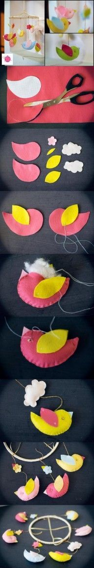 DIY Fabric Bird Mobile DIY Projects