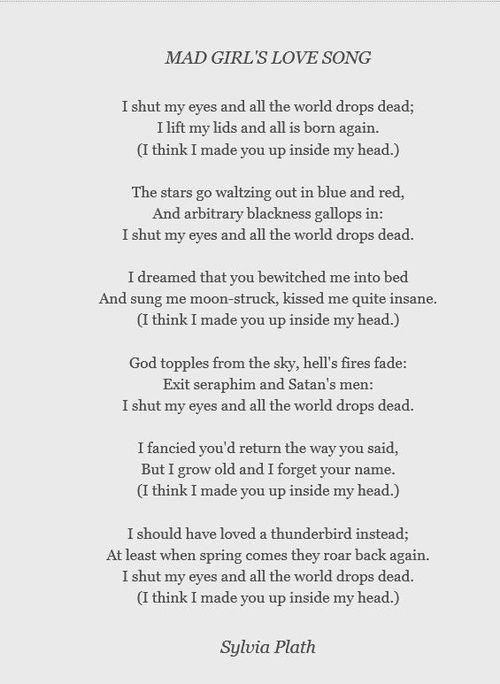 Possibly my favorite Sylvia Plath poem.