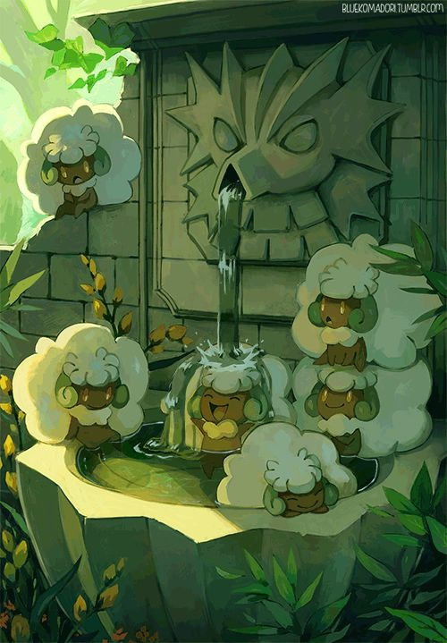 Pokemon - Whimsicott Playing in the Fountain