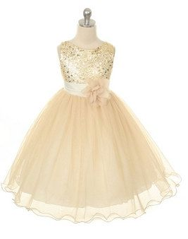 Flower Girl  Dress Gold Sequin Double Mesh by BURATINOBOUTIQUE, $47.00