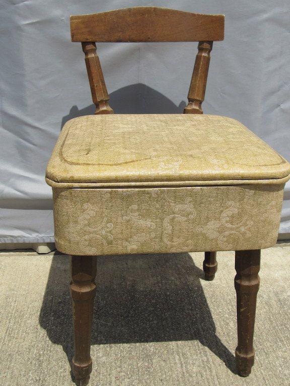 Mid-Century Vintage Sewing Table Chair Storage Shabby Chic Cottage Decor Vanity Seat Glamour Glam Retro by NikkoChikko on Etsy