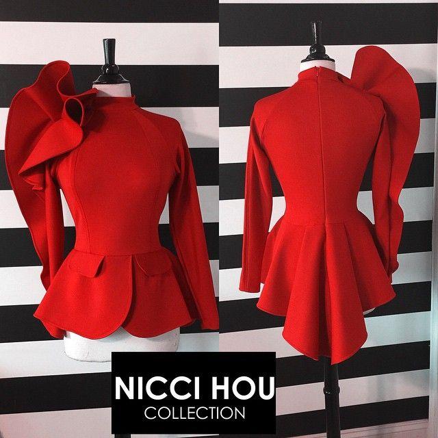 Nicci Hou cascading ruffle sleeve peplum top #niccihou #niccihoucollection