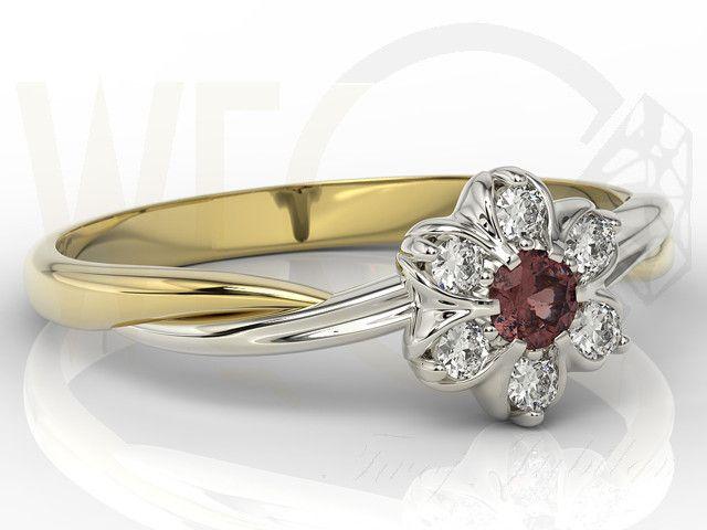 Pierścionek  z żółtego i białego złota z granatem i brylantami  /  Ring made from yellow and white gold with ruby and diamonds / 1414 PLN #jewellery #jewelry #gold #ring