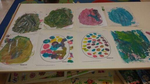 Easter eggs!! Pompom painting!!